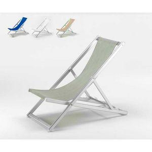 Aluminium-Liegestuhl Riccione - RI800TEX, Sunlounger Falten mit verstellbare Rückenlehne, leicht zu waschen
