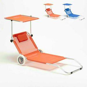 Sonnenliege Strandliege klappbar mit Rollen Aluminum Sonnendach BANANA - BA600LUXAR, Tragbarer Aluminium-Liegestuhl