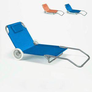Sonnenliege Strandliege Stahl tragbar mit Rollen BANANA - BA600OXFAZ, Tragbarer Liegestuhl mit R�dern
