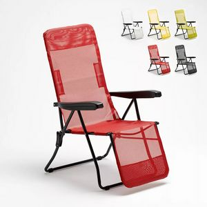 Strand- und Garten-Sonnenliege mit Armlehnen und Stahlfu�st�tze Relax 330, Liegestuhl mit Textilgewebe