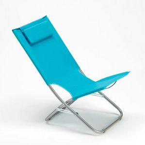 Strandstuhl aus Stahl mit Kissen Strand Meer und Garten Rodeo Lux RO600LUXBL, Klappliegestuhl