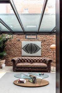 ARONA, Zentrum Halle Couchtisch mit Zeitschriftenständer, Couchtisch mit Glasplatte für Wohnzimmer