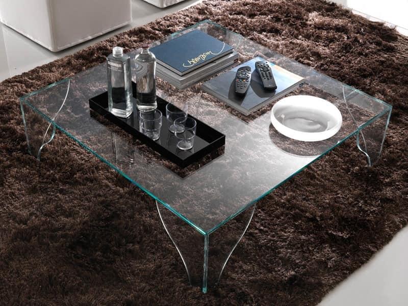 T16 sipario, Platz Couchtisch komplett aus Glas
