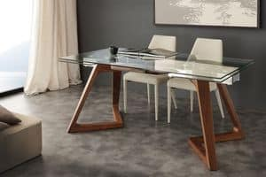 Art. 647 Gaudì, Tisch mit Glasplatte, ausziehbar