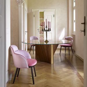Clover Reverse, Tisch mit runder Glasplatte