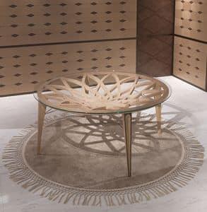 TA63 Galileo Tisch, Runder Tisch aus Holz und Glas, für die moderne Lounges