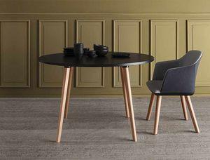 Login, Runder Tisch mit Beinen aus Buche