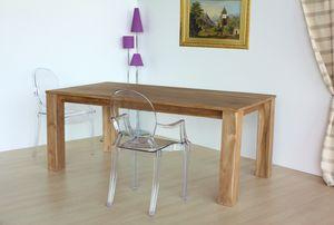 Tabelle square, Rechteckiger Tisch aus natürlichem Teakholz
