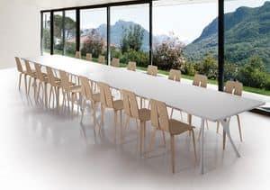 Pegaso solid, Langen Tisch aus poliertem Aluminium und Harz Top-