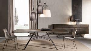 Artù Tisch, Tisch mit massiver Eiche oben, Eisen-Basis