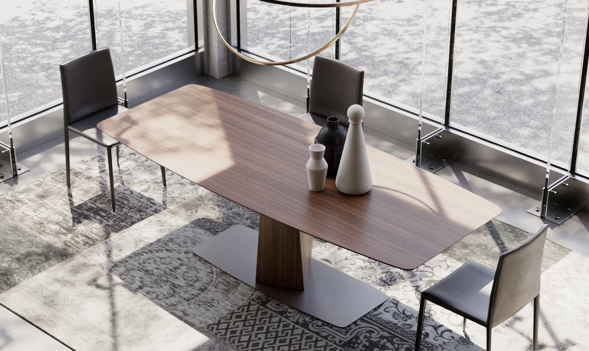 CLARK, Esstisch aus Massivholz und Metall