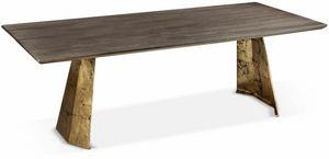 Icaro Tisch, Rechteckiger Tisch mit Eisensockel