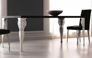 Kaleido Art. 208-RR, Esstisch mit lasergeschnittenem Eisenbein, poliert und von Hand dekoriert