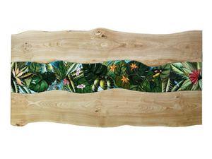 Life Amazzonia, Tisch mit Holz- und Lavasteinplatte