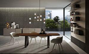 MUN, Wesentliche Tisch, abgerundete Ecken, mit Metallfuß