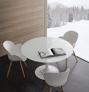 Art. 618 Bramante, Runder Tisch aus extraweiß gehärtetem Glas