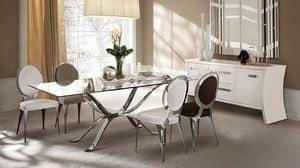 Atlante tavolo, Tabelle in Hand poliert Eisen, Glasplatte