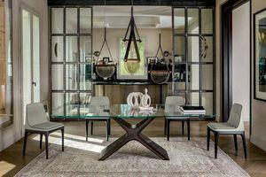 CALLIOPE XXL, Tisch mit Struktur aus lackiertem Stahl, Glas oder Keramik
