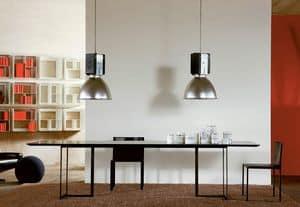 Leonardo, Tisch mit minimalistisches Design, Metall und Glas, für Wohnzimmer