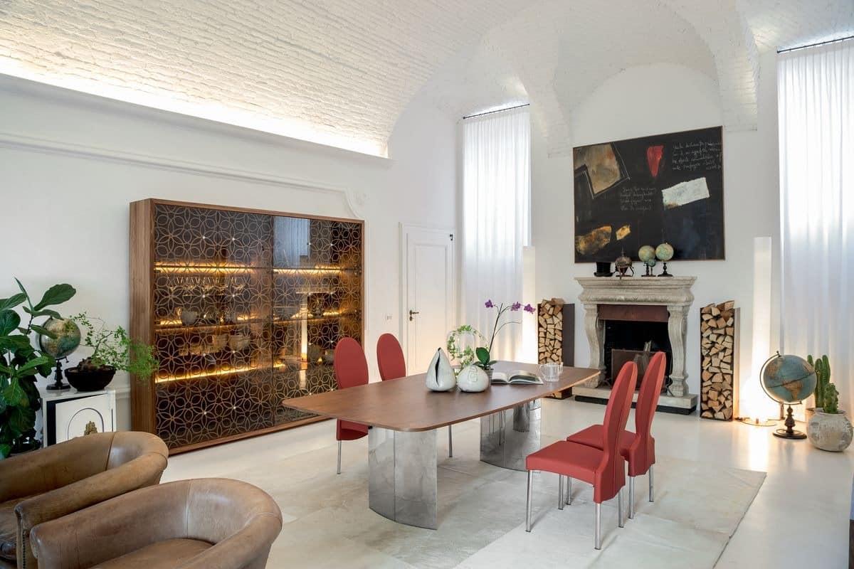 MANHATTAN, Ausziehbarer oder fester Tisch mit Glas-, Holz-, Marmor- oder Keramikplatte
