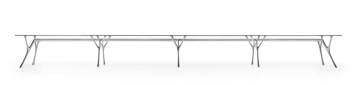 Pegaso Unendlichkeit, Modularer Tisch aus Aluminium mit Glasplatte