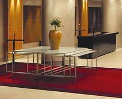 Steel & Style - Buffet, Edelstahl Tisch mit Glasplatte, verschiedene Formen verfügbar