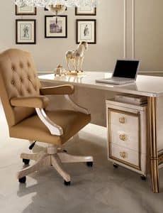 Melodia Bürosessel, Bürosessel im klassischen Stil, mit Rädern, gepolsterten Armlehnen