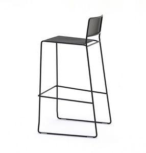 Log mesh ST, Metallhocker mit linearen Design, geeignet für den Außenbereich, stapelbar