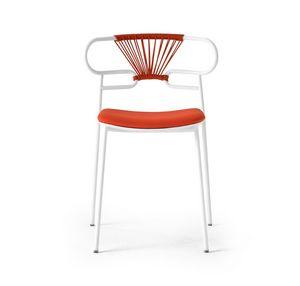 ART. 0047-MET-CROSS-IM GENOA, Stapelbarer Metallstuhl mit gepolstertem Sitz