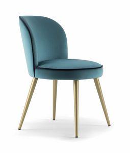 CANDY SIDE CHAIR 061 SL, Stuhl mit konischen Metallbeinen