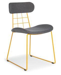Chloe, Moderner Stuhl aus Metall, gepolstert