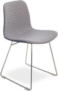 Dama UP, Moderne Stuhl mit Metallgestell, Sitz in Stoff