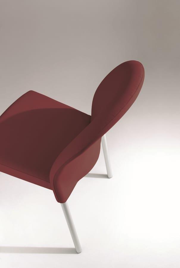 Marostica cod. 11/I, Stapelbare Stuhl aus Metall, gepolstert, für den Objektbereich