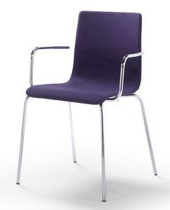 Tesa fabric AR, Stapelbarer Stuhl mit Armlehnen, gepolsterter Sitz und Rückenlehne