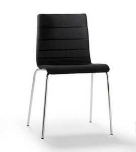 Tesa stripe, Stapelbarer Stuhl, aus verchromtem Metall, horizontal Nähten
