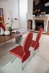 VIVIENNE, Stuhl aus Metall, runden Rücken, für Wohnzimmer