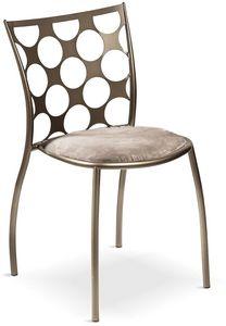 Julie cerchi mit gepolstertem Sitz, Metallstuhl mit gepolstertem Sitz