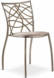 Julie Stuhl mit gepolstertem Sitz, Stapelbarer Metallstuhl