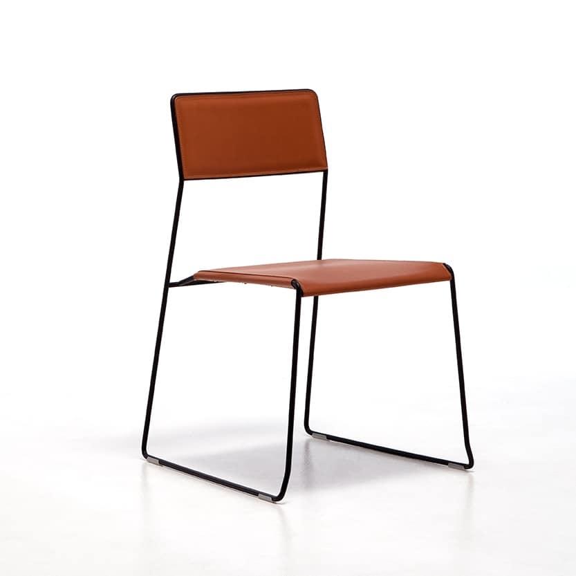 Log leather, Metallstühle, Sitz und Rückenlehne aus recyceltem Leder, für die Bar und das Restaurant