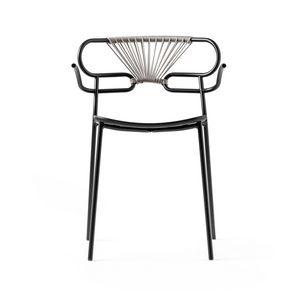 ART. 0048-MET-CROSS-PU GENOA, Stapelbarer Metallstuhl, auch für den Außenbereich