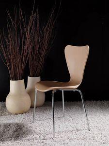 Art. 054 Triannon, Metallstuhl, Sitz aus Natur- oder Lackholz