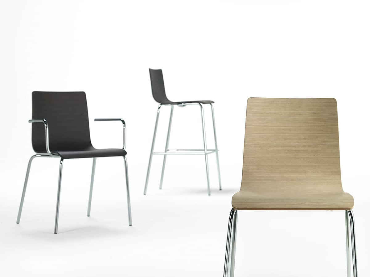 Tesa wood, Metallstuhl mit Holzschale, verschiedene Ausführungen
