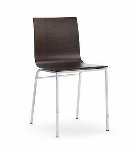 LIRA, Stuhl aus Holz und verchromtem Metall, für Bars