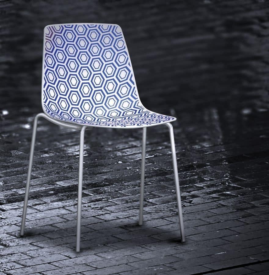 Alhambra NA, Stuhl mit Metallstruktur, Polymerbasis