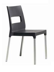 Dina, Stapelbarer Stuhl für Outdoor-Restaurants und Bars