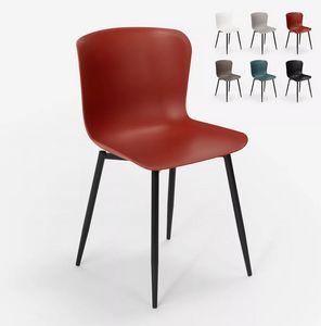 Moderner Designstuhl aus Polypropylen und Metall für das Restaurant in der Küchenbar Chloe SC779, Moderner Stuhl aus Metall und Polypropylen
