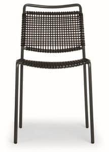 Moon, Stuhl aus Metall mit Kunst Bindfäden Sitz und Rücken