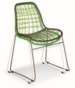 Net, Stuhl aus Metall und Kunststoffdraht, auch für den Außenbereich