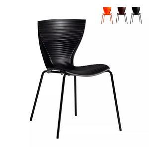 Schieben Sie Moderne Designstühle für Küchenbar Restaurant und Garten Gloria SD GLR080, Moderner Stuhl aus Polypropylen und Metall