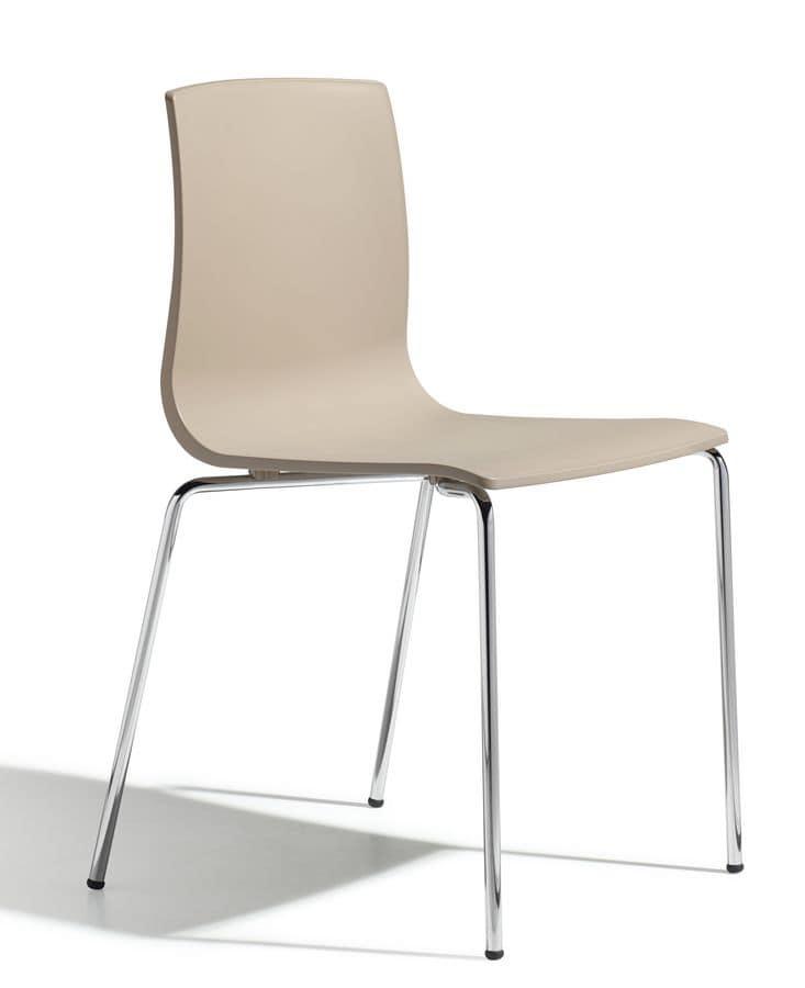 SE 2675.INT, Stapelstuhl mit Metallgestell und Kunststoffkörper für Bars und Küchen geeignet